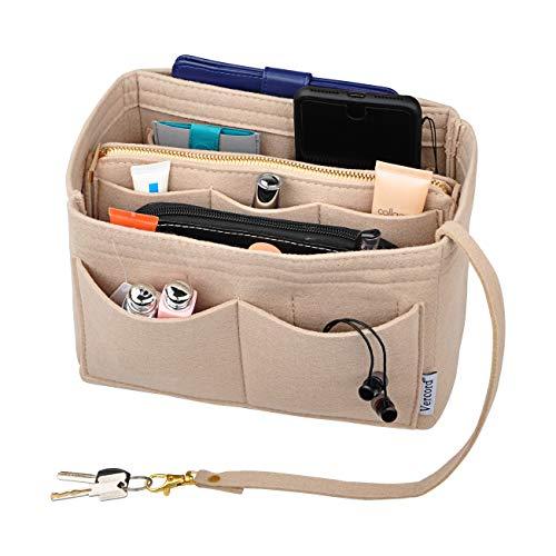Vercord Felt Organizer Insert for Purse Handbag Tote Bag in Bag Inside Shaper Divider Neo Beige Xlarge