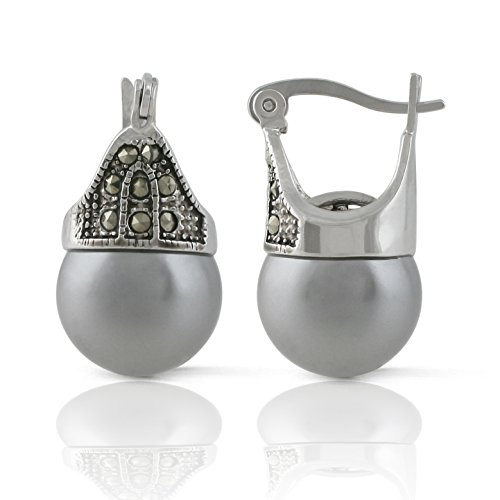 JanKuo Jewelry Rhodium Plated Gray Color Simulated Pearl Marcasite Earrings (Plated Rhodium Color)
