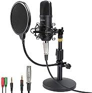 Professional Studio Condenser Microphone, Computer PC Microphone Kit with 3.5mm XLR/Pop Filter/Scissor Arm Sta