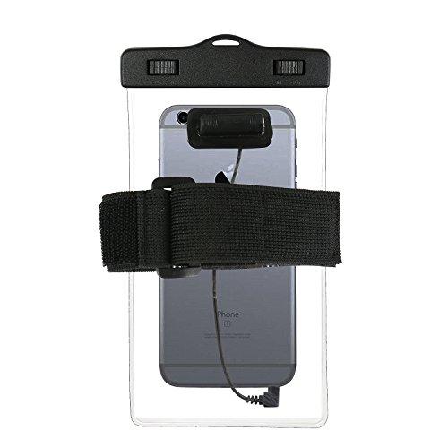 Estuche estanco al agua con entrada de auriculares para Wileyfox Spark + auricular incluido, transparente | Trotar bolsa de playa al aire libre caja brazalete del teléfono caso de cáscara bajo playa -