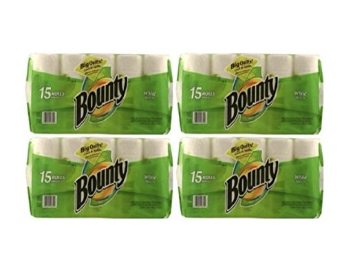 Bounty Paper Towels, White, 15-Count Package (Pack of 4) by Bounty