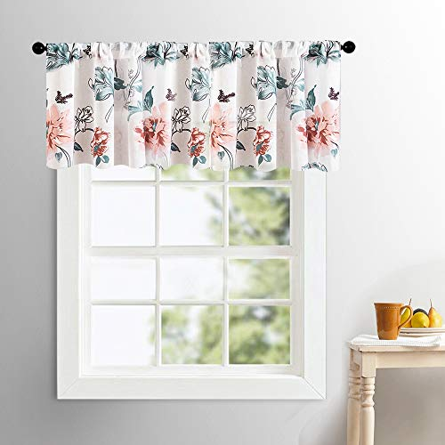 (MRTREES Sheer Valances Curtains 16 inch Length Peach Red Floral Print Valance Cotton Blend Semi Sheers Living Room Leaf Flower Printed Voile Bedroom Window Treatment Rod Pocket 1 Panel)