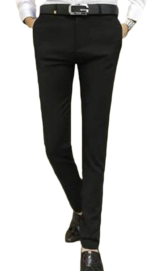 Generic Mens Straight Fit Formal Casual Slim Fit Solid Color Flat-Front Chino Pants