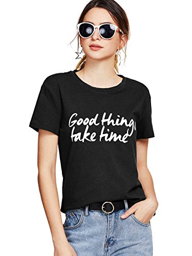 SheIn Women's Round Neck Short Sleeve Letters Printed Cotton Funny Grahpic T-Shirt Black Large by SheIn (Image #2)