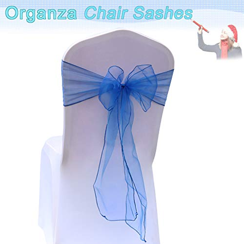 BIT.FLY Organza Chair Sashes for Wedding Party - Chair Cover Sashes/Bows Sash/Ribbon/Tie Decor for Banquet, Catering, Reception, Chair Decorations (Royal Blue, Pack of 50)