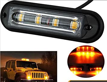 4x 3 LED 12V Amber Car Police Strobe Flash Light Emergency 3 Flashing Modes JUK