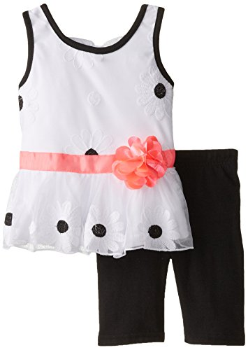 (Little Lass Baby Girls' Daisy Embroidered Tulle Skimmer Set, Black, 12 Months)