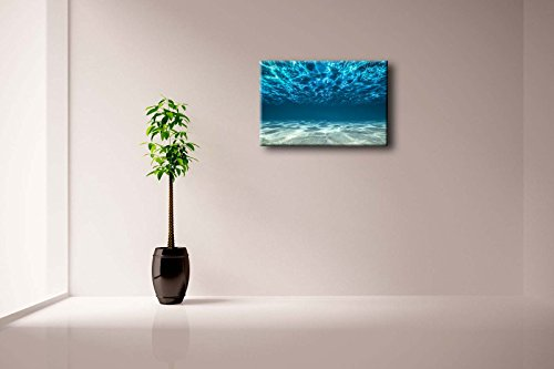 First Wall Art - Blue Ocean Bottom View Beneath Surface Wall Art Painting The Picture Print On Canvas Seascape Pictures For Home Decor Decoration Gift (Stretched By Wooden Frame,Ready To Hang)