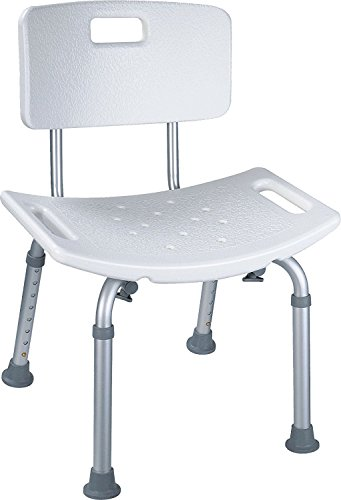 Little world Shower Chair Tool-Free Plastic Showering Seat bench Nonslip for Spa Bathtub with Adjustable Legs and Removable Back Rest Lightweight Durable Transfer Bench