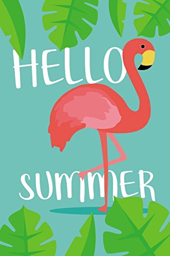 Juvale Garden Flag - Hello Summer Flag Banner, Summer Holiday Seasonal Outdoor Lawn Decoration, Flamingo Illustration, Double Sided Printed, 12.5 x 18.6 Inches