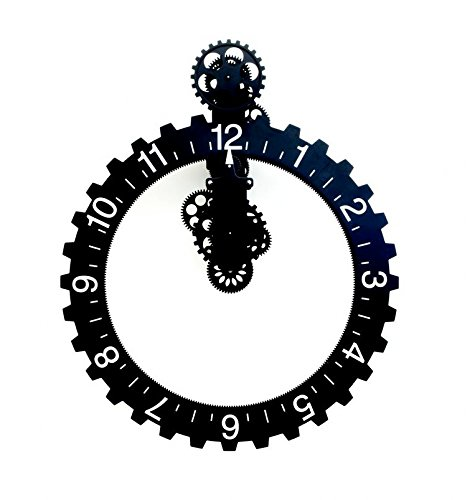 (Kikkerland Big Wheel Hour Wall Clock, Black)