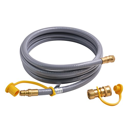 Onlyfire 12 Feet Natural Gas and Propane Hose Assembly with 3/8-Inch Male Flare Quick Connect for Low Pressure Appliance ()