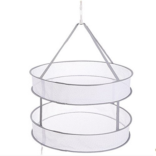 AHUA 2 Layer Collapsible Mesh Hydroponic Hanging Drying Rack