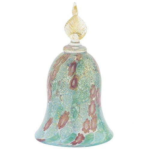 GlassOfVenice Murano Glass Golden Quilt Aqua Millefiori Bell ()