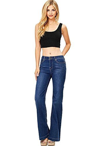 Wax Women's Juniors Mid Waist Boot Cut Straight Jeans (9, Dark)
