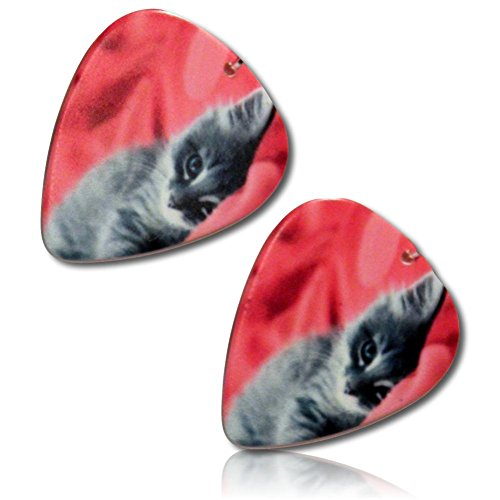 Unique & Custom [Thin Gauge - Traditional Style Semi Tip] Hard Luxury Guitar Pick Made of Genuine Solid Resin w/ Flufffy Kitten Wrapped in Blanket