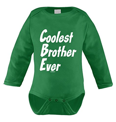 - Coolest Brother Ever Infant Long Sleeve Bodysuit (Kelly Green, Newborn)
