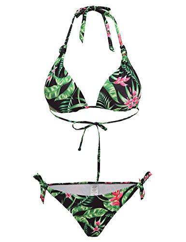 SSLR Women's Halter Swimwear Printed Two Piece Bikini Sets (Small(US 4-6), Black)