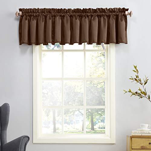 Sun Zero Barrow Energy Efficient Rod Pocket Curtain Valance, 54 x 18, Chocolate Brown