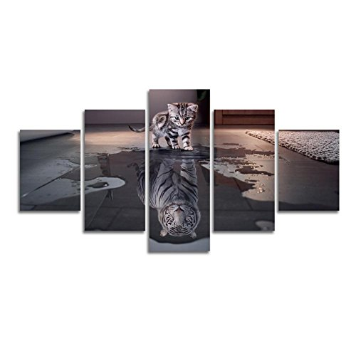 [LARGE] Premium Quality Canvas Printed Wall Art Poster 5 Pieces / 5 Pannel Wall Decor Cat and Tiger Painting, Home Decor Pictures - With Wooden Frame Cat Art Poster