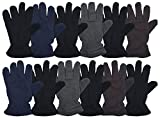 12 Pairs of Winter Fleece Gloves, Unisex, Soft Warm Cozy Sports Glove, Mens or Womens (Mens Assorted)