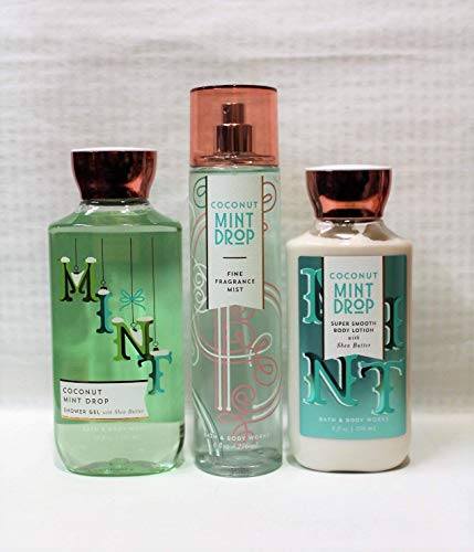 Bath & Body Works ~ Signature Collection ~ Winter 2017 ~ Coconut Mint Drop ~ Shower Gel - Fine Fragrance Mist & Body Lotion – Trio Gift ()
