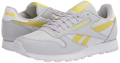 Reebok unisex-adult Classic Leather,Pure Grey/Chartreuse/White,14 M US