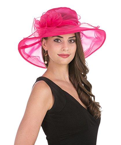 "f6244a16b8348 sandals SAFERIN Women s Organza Church Derby Fascinator Bridal Cap British  Tea Party Wedding Hat (Rose. """