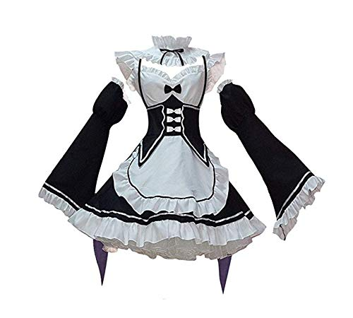 Women's Rem/Ram Maid Costume Cosplay Lolita Fancy Dress Halloween Costume Party Outfit (XXL) Black -