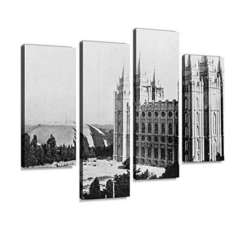 Antique Photograph of Salt Lake Temple (Utah,USA)-19th Century Canvas Wall Art Hanging Paintings Modern Artwork Abstract Picture Prints Home Decoration Gift Unique Designed Framed 4 Panel