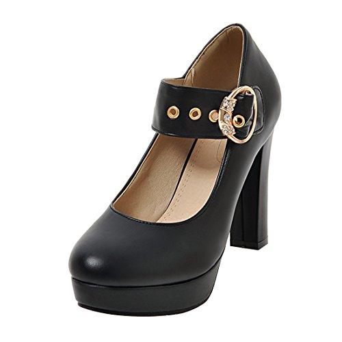 YE Damen Mary Janes Pumps Blockabsatz High Heels mit Riemchen Elegant Schuhe  37 EUSchwarz