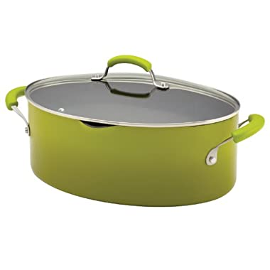 Rachael Ray Porcelain Enamel II Nonstick 8-Quart Covered Oval Pasta Pot with Pour Spout, Green Gradient