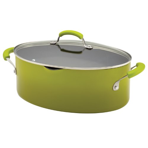 Rachael Ray Porcelain Enamel II Nonstick 8-Quart Covered Oval Pasta Pot with Pour Spout, Green - Ray Green Ray
