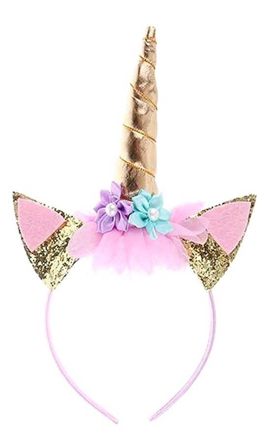 Diadema de unicornio - niña - rosa y oro - fiesta ...