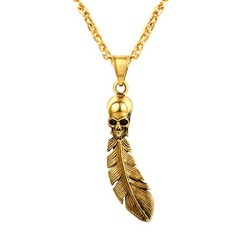 PROSTEEL Gold Skeleton Skull Feather Pendant Necklace Retro Vintage Goth Punk Gothic 18K Plated Men Women Ethnic Jewelry Statement Necklace