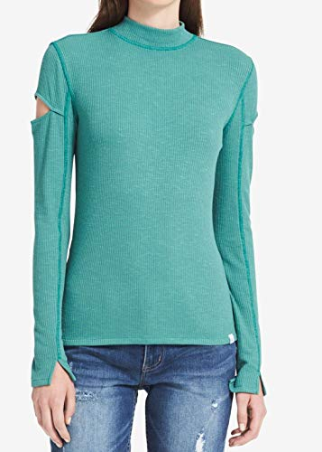 Calvin Klein Jeans Women's Long Sleeve Rib Mock Neck Sweater, Bottle Green, Medium ()