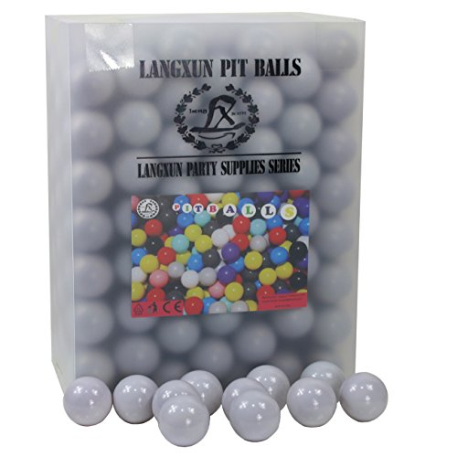 Langxun Pack of 200 Silver ( Gray ) Ball Pit Balls - Phthalate Free BPA Free Crush Proof Plastic Ball | Ideal Gifts for Kids & Photo Booth Props for Baby and Kids by Langxun
