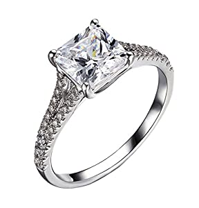 Nova Princess Enhanced Diamond(VS) 2.49Ct Promise Ring Simulated CVD Coated Diamond 14k White Gold for Engagement Wedding Promise Anniversary