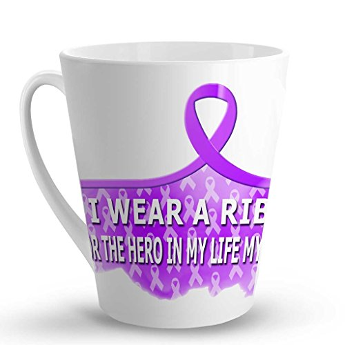 I WEAR A RIBBON FOR THE HERO IN MY LIFE MY DAUGHTER Cancer Awareness Coffee Latte Mug