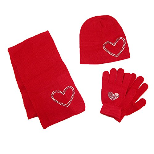 Hat Kids Red Gloves (CTM Girls' Stud Accent Hat Glove and Scarf Winter Set, Red)