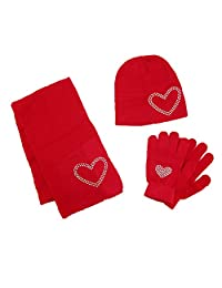 CTM® Girls' Stud Accent Hat Glove and Scarf Winter Set, Red