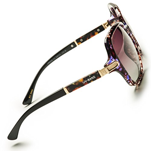 UV-BANS Women Oversized Street Fashion Designer Sunglasses Polarized UV400 Lens Holiday Gifts for Her (C-Purple Tortoiseshell Frame) by UV-BANS (Image #2)
