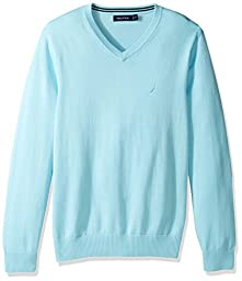 Nautica Men\'s Long Sleeve Solid Classic V-Neck Sweater, Bright Aqua, X-Large