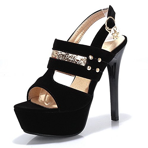 BalaMasa donna Open toe fibbia solido tacchi alti sandali, Nero (Black), 35 EU