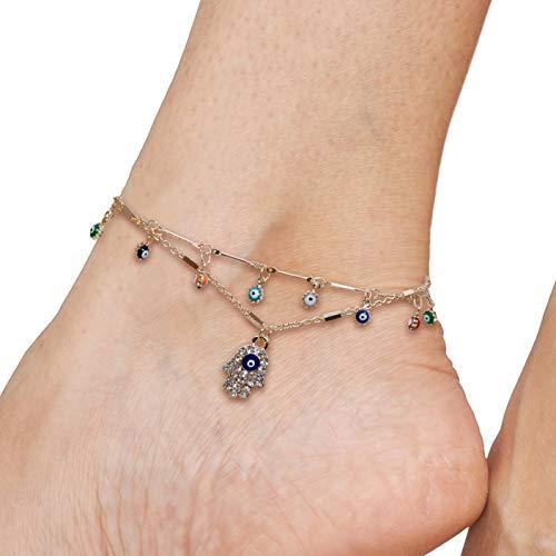 (SPUNKYsoul Hamsa Necklace, Bracelet or Anklet for Women (Anklet))