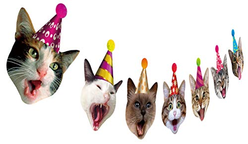 Birthday Cat Garland, Photographic Cat Faces Birthday Banner, Kitties Bday Party Bunting Decoration]()