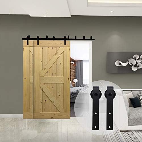 274cm(9FT) Kit de guía para puerta corredera Bypass Ferretería Polea de Rail suspendida sistema de puerta interiores en madera granero armario cuarto de, negro: Amazon.es: Bricolaje y herramientas