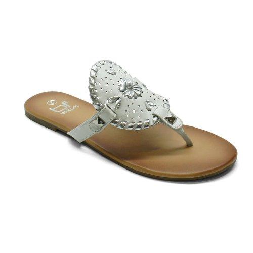 Betani Amanda-18 Dames Eenvoudige Gevlochten Slip Op Flip Flop Platte String Strand Sandaal, Kleur: Wit, Maat: 5.5