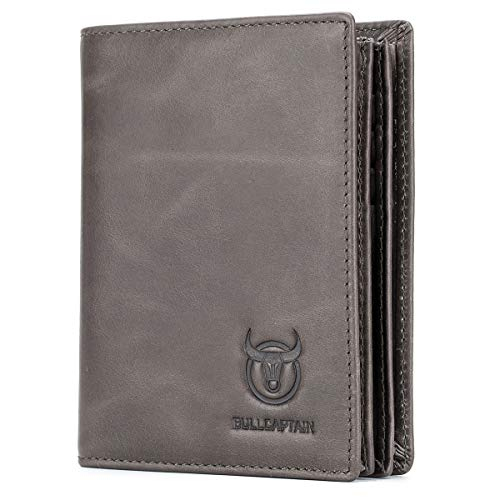 Bullcaptain Large Capacity Genuine Leather Bifold Wallet/Credit Card Holder for Men with 15 Card Slots QB-027 (Light Brown)