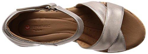 Clarks Plaza Cross, Sandali con Cinturino Alla Caviglia Donna Oro (Gold Metallic)